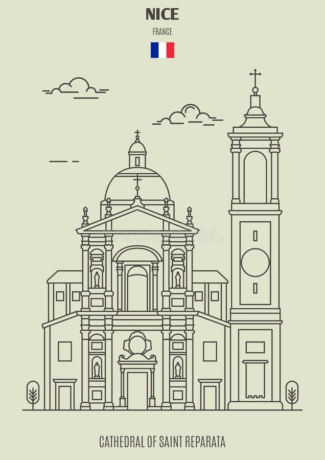 Kathedrale des Heiligen Reparata in Nizza, Frankreich Marksteinikone stock abbildung