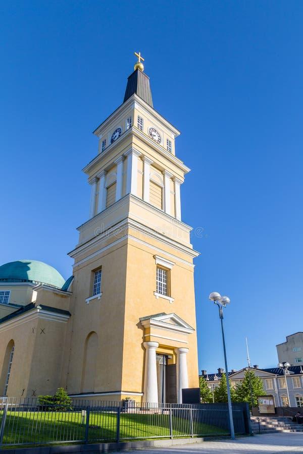Kathedrale nahe der Mitte von Oulu, Finnland stockfoto