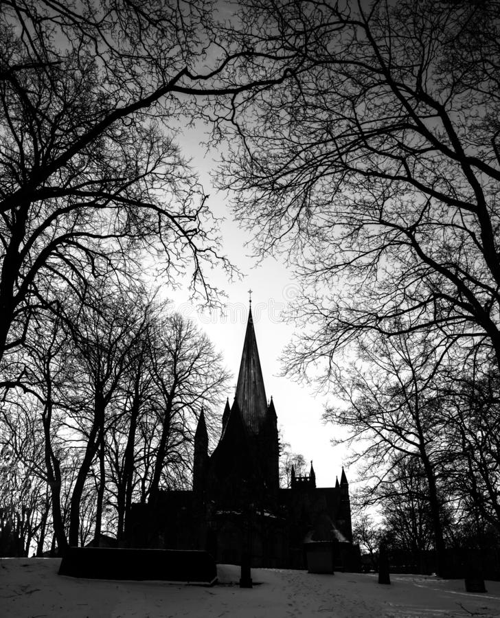 Kathedrale Silhouette lizenzfreie stockbilder