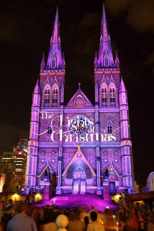 Kathedrale Sydney Weihnachtslicht-Anzeigen-St. Marys lizenzfreies stockfoto