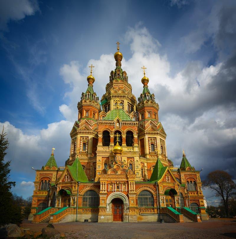 Kathedrale von Heiligen Peter und Paul, Peterhof in St Petersburg lizenzfreie stockfotografie