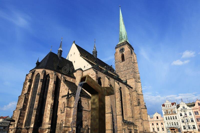 Kathedrale von St Bartholomew, alte Architektur, Pilsen, Tschechische Republik lizenzfreie stockfotografie