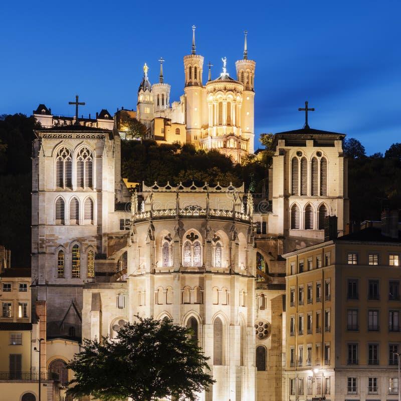 Kathedrale von St. Jean und die Basilika Notre Dame de Fourviere I lizenzfreie stockbilder