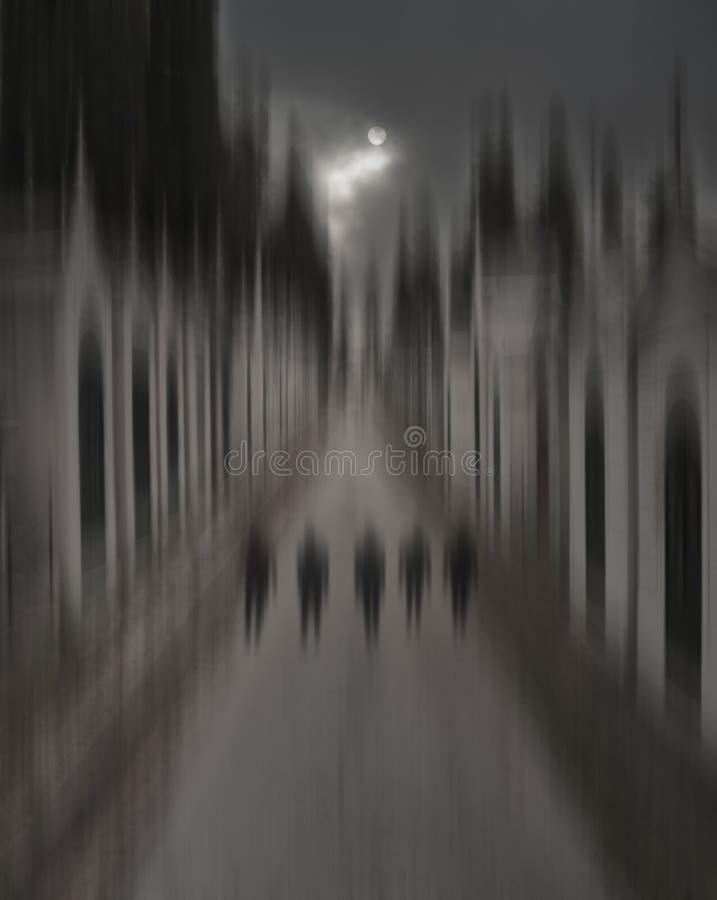 Kathedralen, een nacht bij de begraafplaats royalty-vrije stock foto