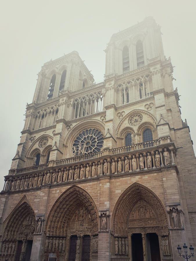 Kathedralenfassade Notre Dame de Paris an einem nebeligen Morgen lizenzfreie stockfotografie