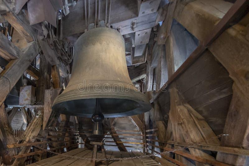 Kathedralenglocken und -dach Notre Dame Paris vor Feuer lizenzfreie stockbilder