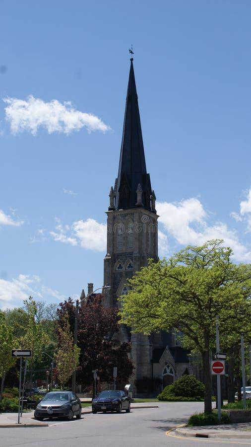 Kathedralenhelm des 19. Jahrhunderts in historischem Cambridge, Ontario, Kanada stockbilder