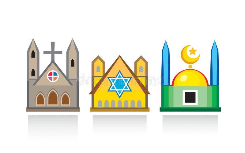 Kathedralenkirche, jüdische Synagoge, islamische Moschee Religiöse Tempel, Architekturstrukturen lizenzfreie abbildung