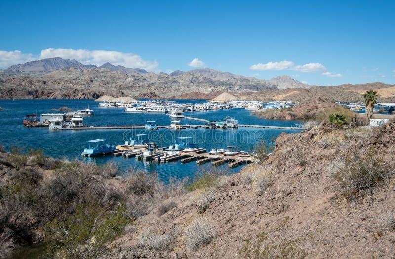 Katherine Landing Marina at Lake Mohave, view from Fishermans Trail royalty free stock photos