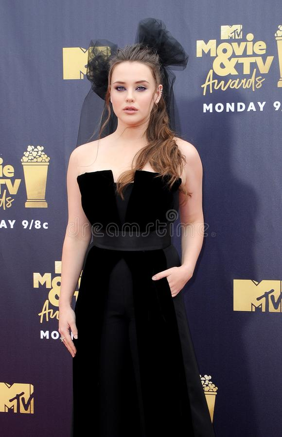 Katherine Langford. At the 2018 MTV Movie And TV Awards held at the Barker Hangar in Santa Monica, USA on June 16, 2018 royalty free stock image