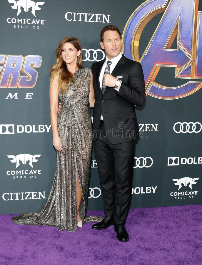 Katherine Schwarzenegger and Chris Pratt. At the World premiere of `Avengers: Endgame` held at the LA Convention Center in Los Angeles, USA on April 22, 2019 stock photos