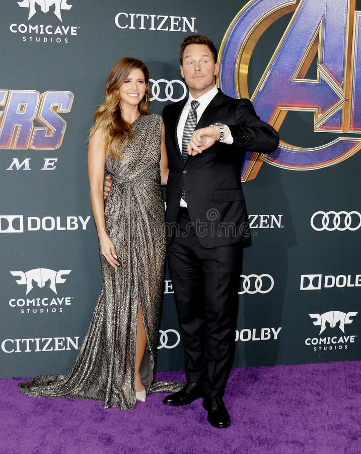 Katherine Schwarzenegger and Chris Pratt. At the World premiere of `Avengers: Endgame` held at the LA Convention Center in Los Angeles, USA on April 22, 2019 royalty free stock photo