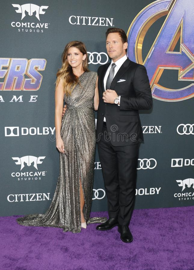 Katherine Schwarzenegger and Chris Pratt. At the World premiere of `Avengers: Endgame` held at the LA Convention Center in Los Angeles, USA on April 22, 2019 royalty free stock image