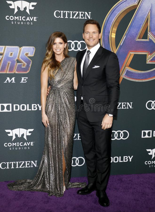 Katherine Schwarzenegger and Chris Pratt. At the World premiere of `Avengers: Endgame` held at the LA Convention Center in Los Angeles, USA on April 22, 2019 stock photo
