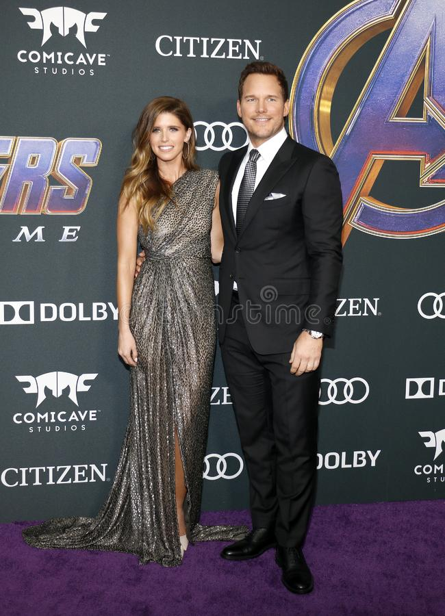 Katherine Schwarzenegger and Chris Pratt. At the World premiere of `Avengers: Endgame` held at the LA Convention Center in Los Angeles, USA on April 22, 2019 stock image