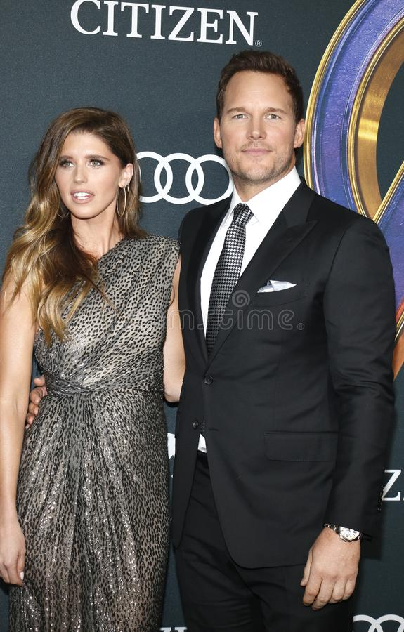 Katherine Schwarzenegger and Chris Pratt. At the World premiere of `Avengers: Endgame` held at the LA Convention Center in Los Angeles, USA on April 22, 2019 royalty free stock images
