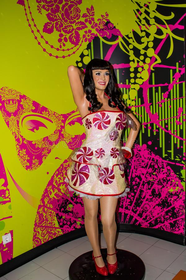 Katy Perry wax statue, Madame Tussaud`s Museum, Vienna. Katheryn Elizabeth Hudson, known professionally as Katy Perry, is an American singer and songwriter royalty free stock photo