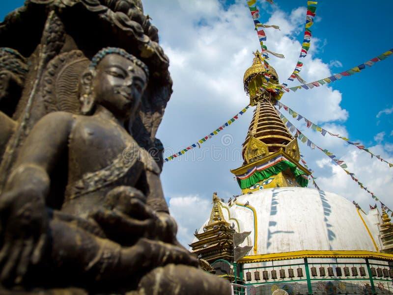 Kathesimbu Stupa with Buddha wisdom eyes. And prayer colorful flags in Kathmandu, Nepal royalty free stock photos