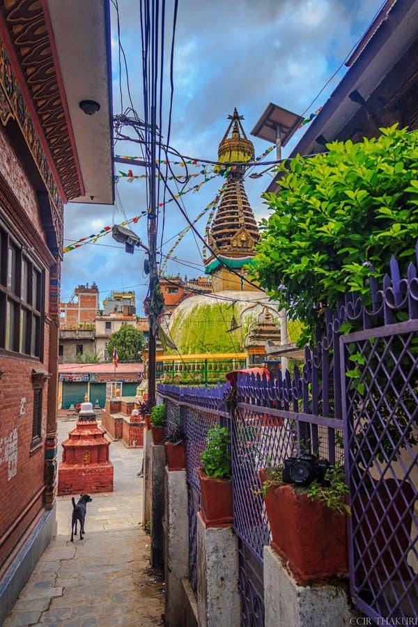 Kathesimbu Stupa också som är bekant som den Sigal stupaen royaltyfri fotografi
