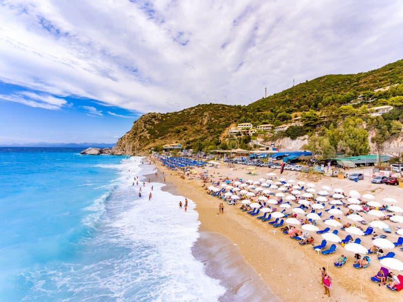 Kathisma Beach birds eye view in Lefkada Island, Greece stock photos