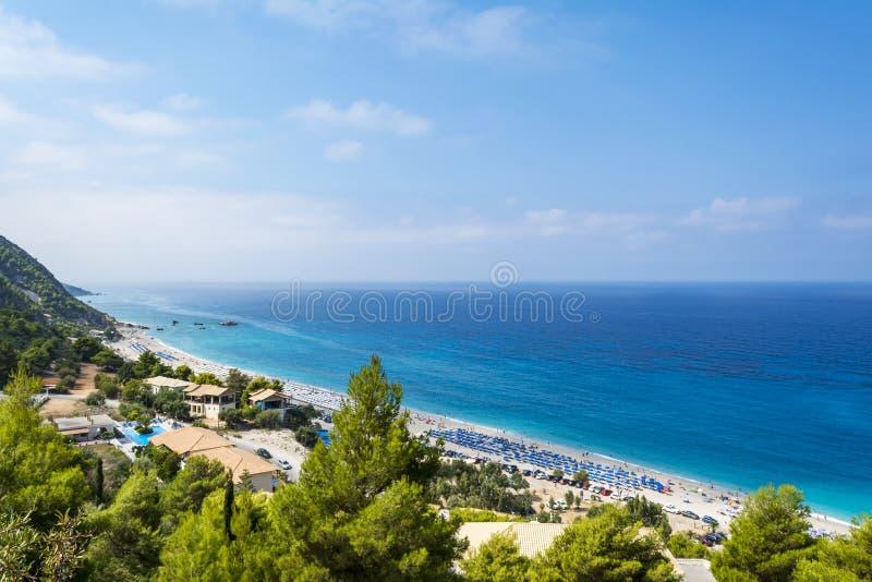 Kathisma strand, Lefkada ö, Grekland royaltyfri fotografi