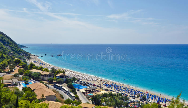 Kathisma strand, panoramautsikt royaltyfri foto