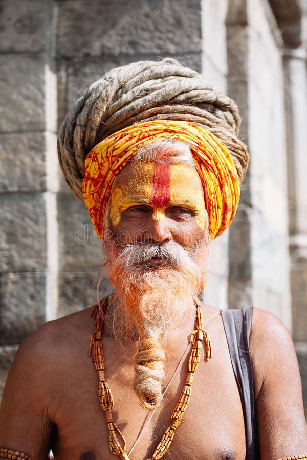 KATHMANDU - FEBRUARY 17: Sadhu at Pashupatinath Temple in Kathmandu, Nepal on Feb 17, 2017. Sadhus are holy men who have chosen to live an ascetic life and royalty free stock photography