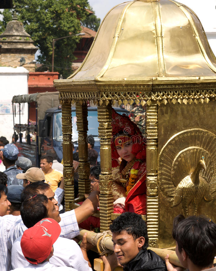 kathmandu kumari royaltyfria bilder