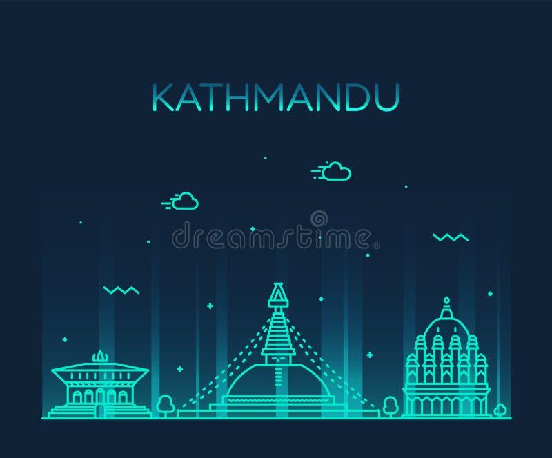 Kathmandu linia horyzontu Nepal Modny wektorowy liniowy styl royalty ilustracja
