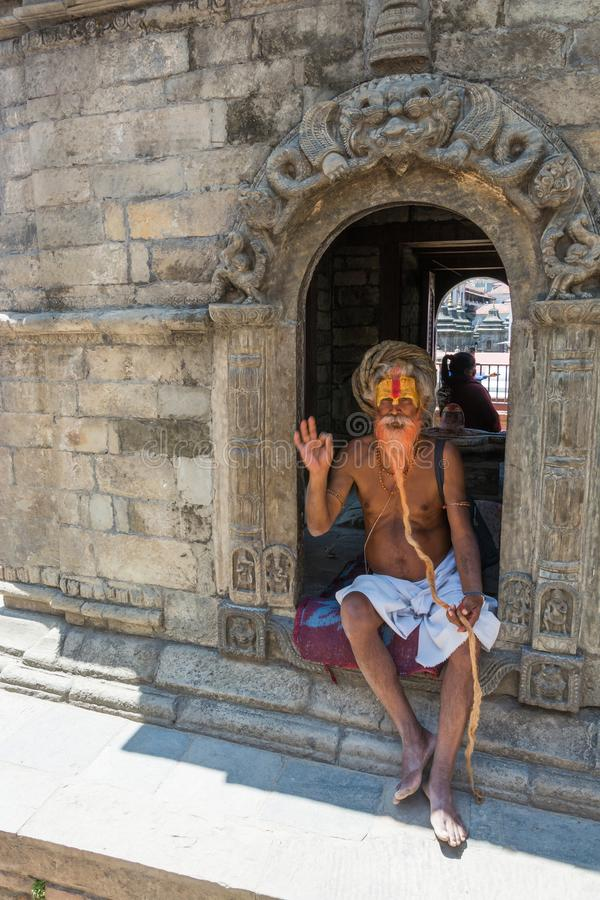 A sadhu with a very long beard in the Pashupatinath Temple 13 Ap stock photos