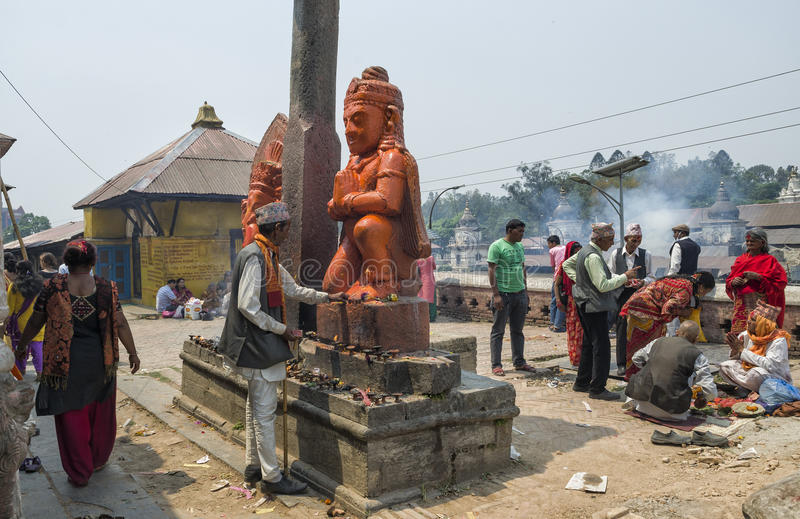 Kathmandu, Nepal - April 15, 2016: Religious activities and ceremony happening at Pashupatinath temple in Kathmandu, Nepal royalty free stock image