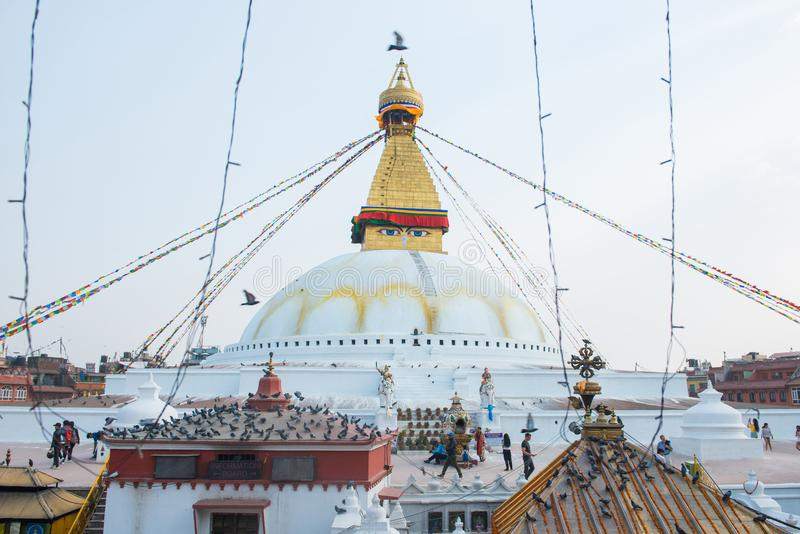 Kathmandu, Nepal - April 20, 2018 :The Wisdom eyes on Boudhanath stupa. Landmark of Kathmandu, Nepal stock images