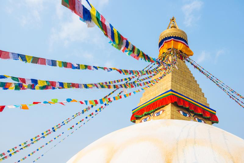 Kathmandu, Nepal - April 20, 2018 :The Wisdom eyes on Boudhanath stupa. Landmark of Kathmandu, Nepal royalty free stock image
