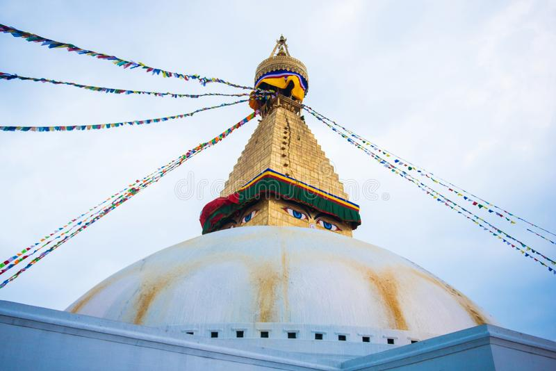 Kathmandu, Nepal - April 20, 2018 :The Wisdom eyes on Boudhanath stupa. Landmark of Kathmandu, Nepal royalty free stock images