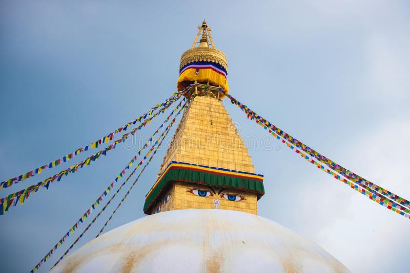 Kathmandu, Nepal - April 20, 2018 :The Wisdom eyes on Boudhanath stupa. Landmark of Kathmandu, Nepal stock photos