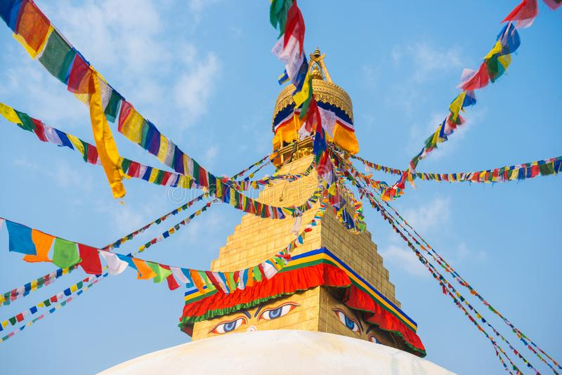 Kathmandu, Nepal - April 20, 2018 :The Wisdom eyes on Boudhanath stupa. Landmark of Kathmandu, Nepal royalty free stock photography