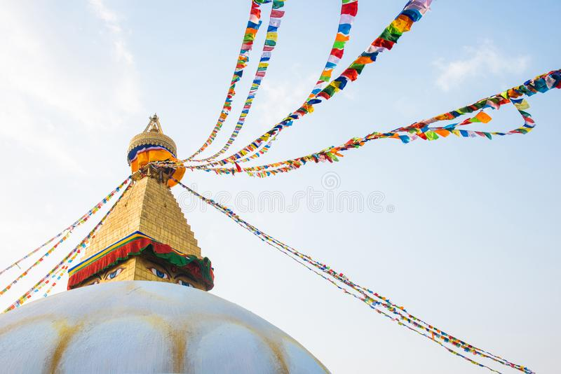 Kathmandu, Nepal - April 20, 2018 :The Wisdom eyes on Boudhanath stupa. Landmark of Kathmandu, Nepal royalty free stock photo