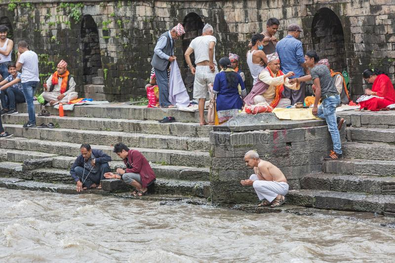 Hindu Pople Receiving Raksha Bandhan at Pashupatinath Temple in stock image