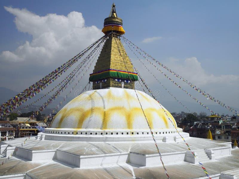 Kathmandu - Nepal - Boudhanath Stupa. Boudhanath Buddhist Stupa in Kathmandu in Nepal. The ancient Stupa is one of the largest in the world and is a UNESCO World stock image