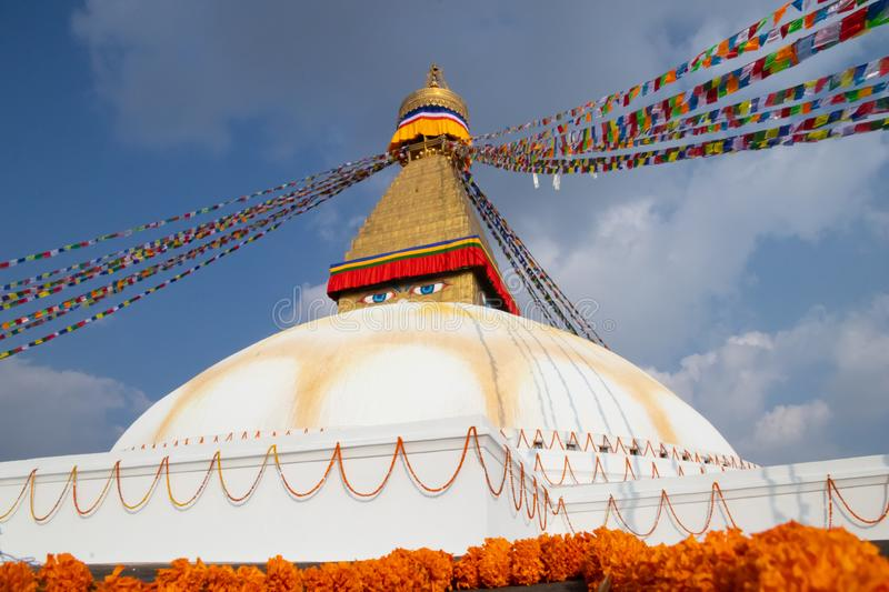 Kathmandu Nepal Boudhanath Stupa is one of the largest Buddhist stupas in the world. It is the center of Tibetan culture in. Kathmandu stock photo