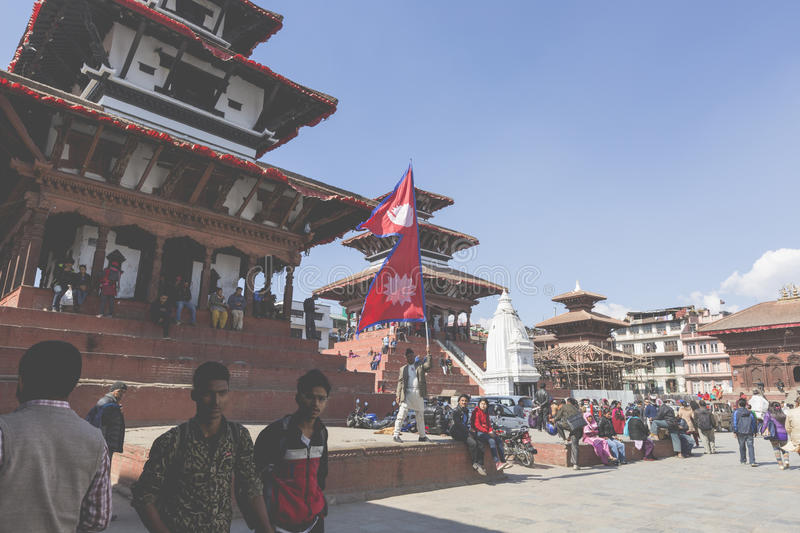 KATHMANDU, NEPAL - FEBRUARY 10, 2015: The famous Durbar square o stock photography