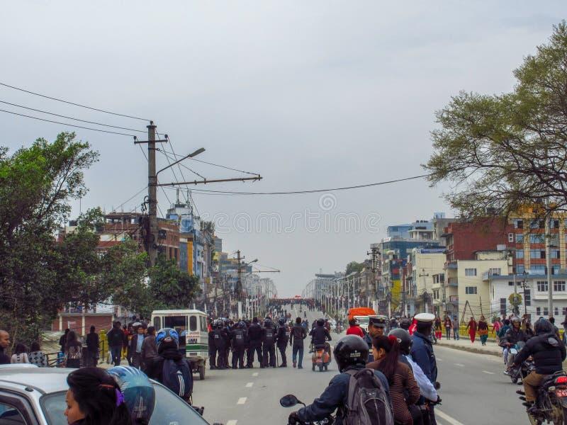 Riot in Kathmandu stock photos