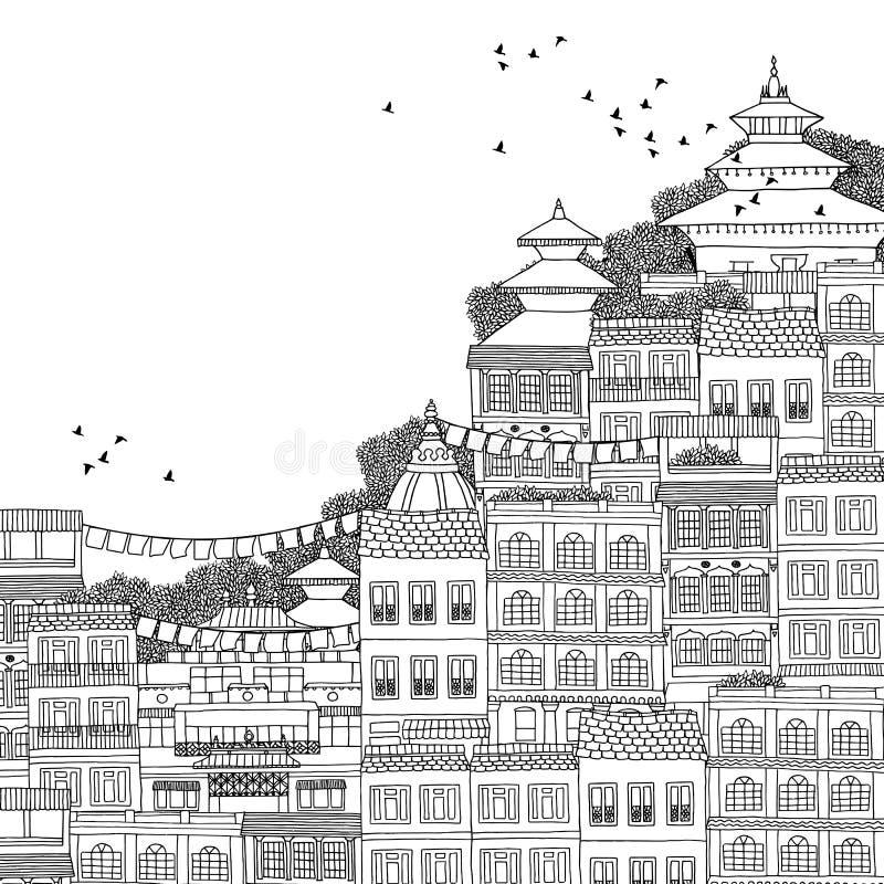 Kathmandu, Nepal - illustrazione in bianco e nero disegnata a mano royalty illustrazione gratis