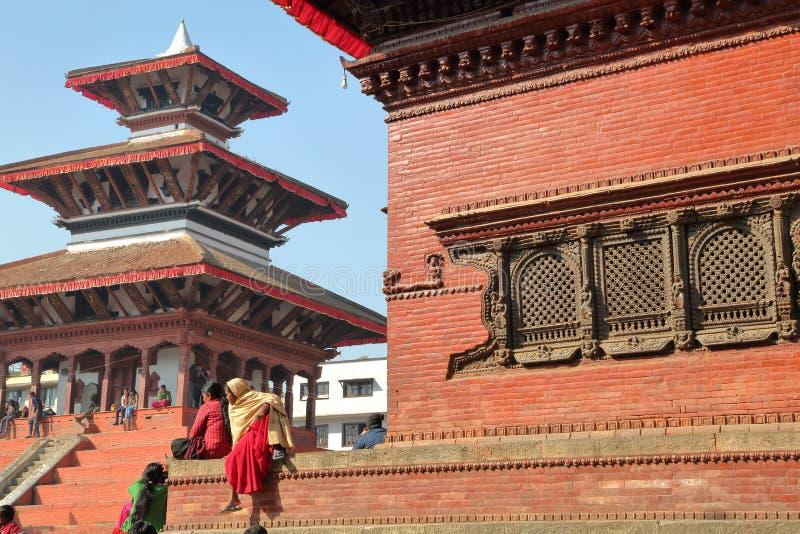 KATHMANDU, NEPAL - JANUARY 15, 2015: Temples at Durbar Square stock photography
