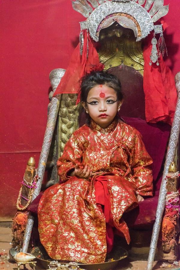 Kumari is a living Hindu deity on April 13, 2018, Kathmandu, Nep royalty free stock photos