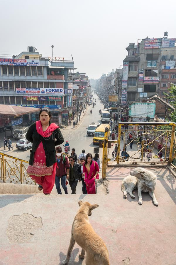 Ladder to the bridge on March 25, 2018 in Kathmandu, Nepal. Kathmandu, Nepal - March 25, 2018: Ladder to the bridge on March 25, 2018 in Kathmandu, Nepal stock images