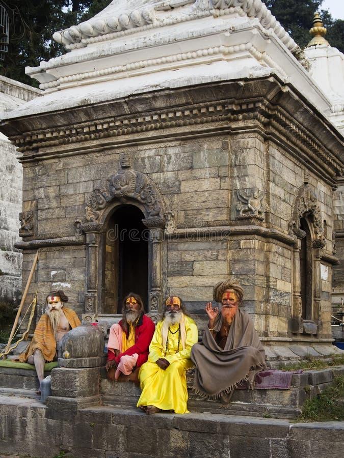 KATHMANDU, NEPAL - NOVEMBER 03: Holy Sadhu men with traditional stock images