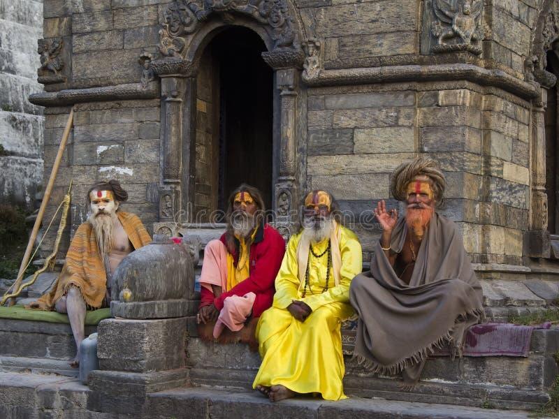 KATHMANDU, NEPAL - NOVEMBER 03: Holy Sadhu men with traditional royalty free stock photos