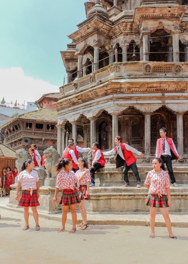 Kathmandu, Nepal - November 03, 2016: Young dancers performing at Durbar Square on a sunny day, Kathmandu Nepal royalty free stock photos