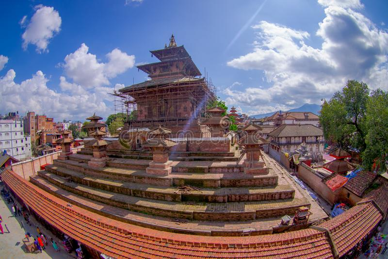 KATHMANDU, NEPAL OCTOBER 15, 2017: Aerial view of Durbar Square near the old Indian temples in Katmandu, fish eye effect royalty free stock images